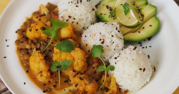 Lencse-karfiol curry