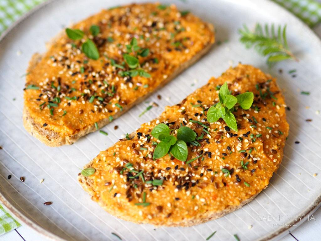 Gluténmentes vegán lecsós zöldségkrém kenőke - növényi alapú