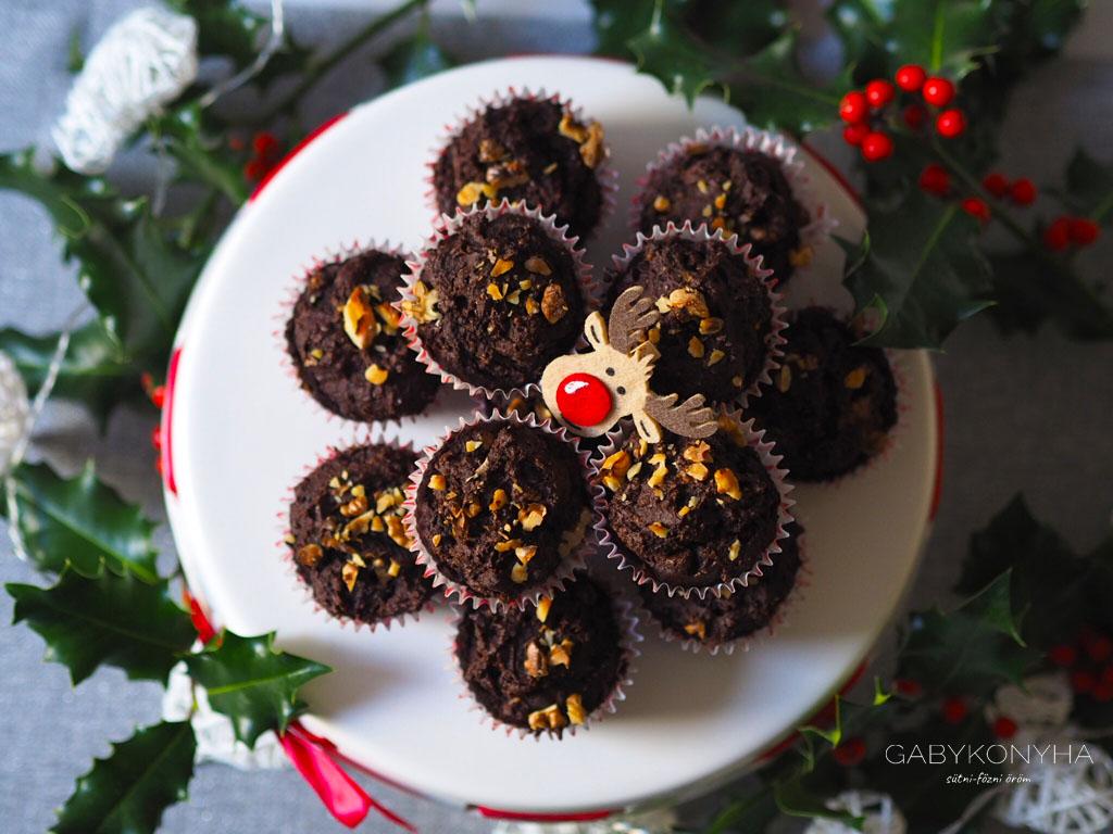 Gluténmentes vegán növényi alapú kakaós csokoládés diós muffinok