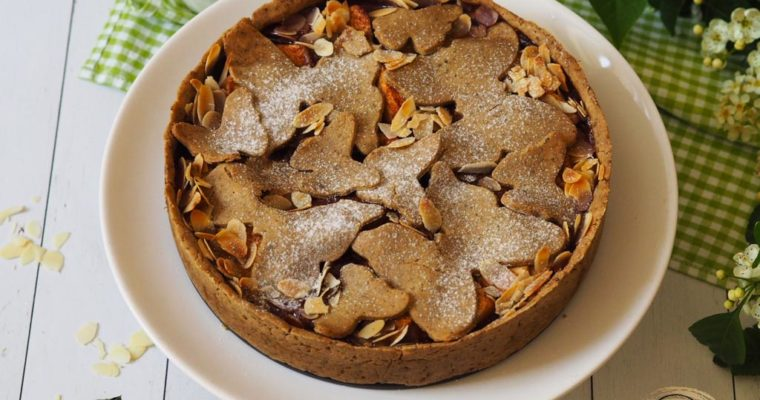 Tökmaglisztes epres-rebarbarás-almás pite