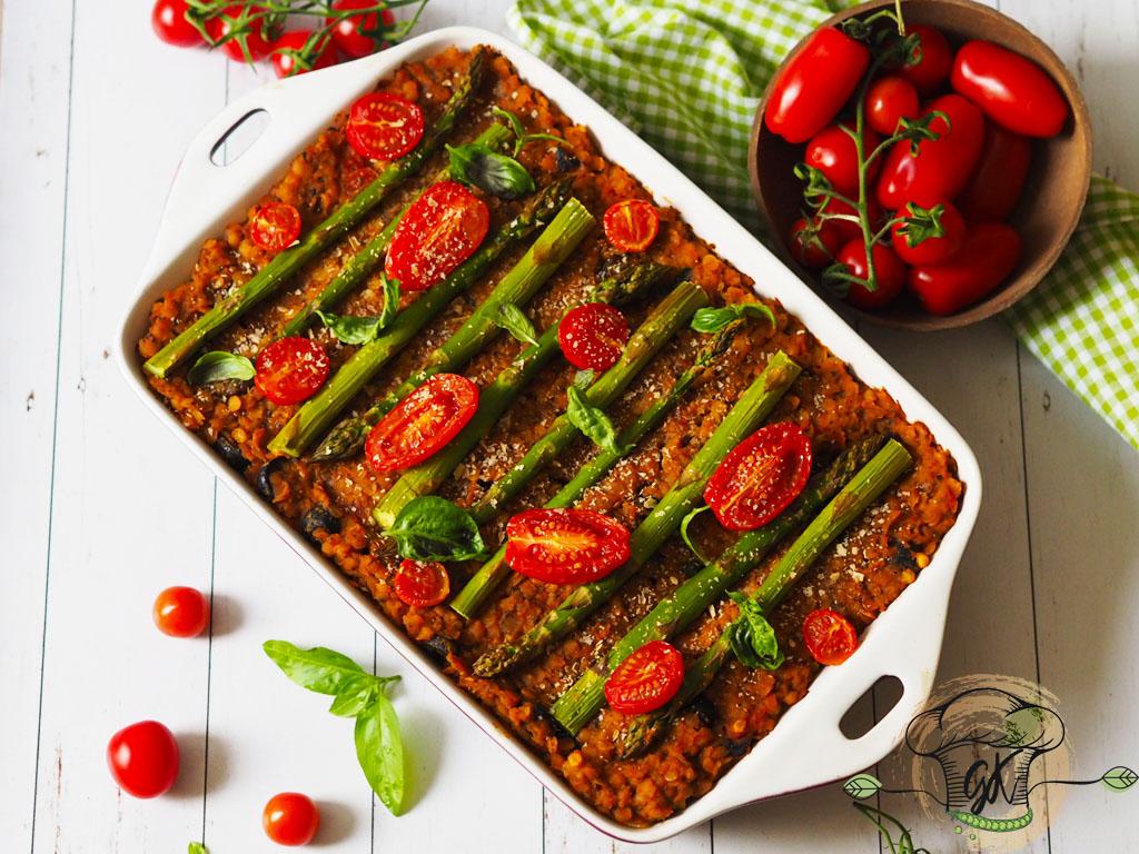 Spárgás vöröslencse lasagne