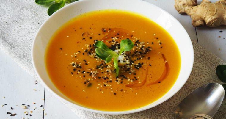 Fűszeres-gyömbéres sárgarépa- és sütőtökkrémleves