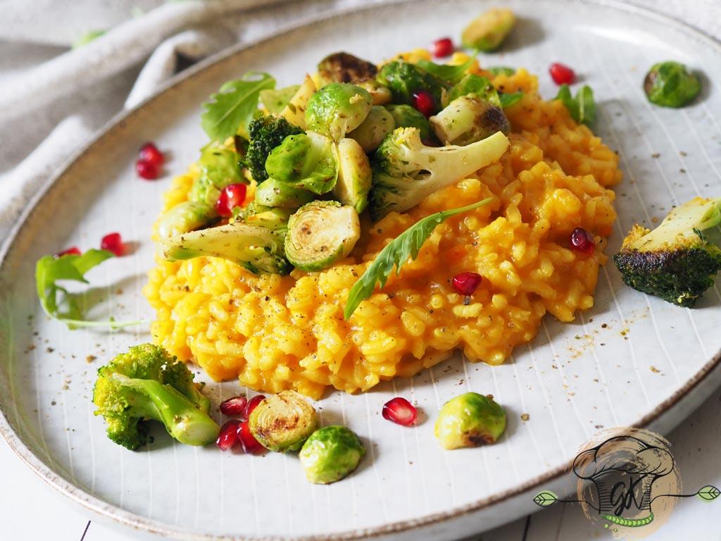 Gluténmentes vegán sütőtökös rizottó