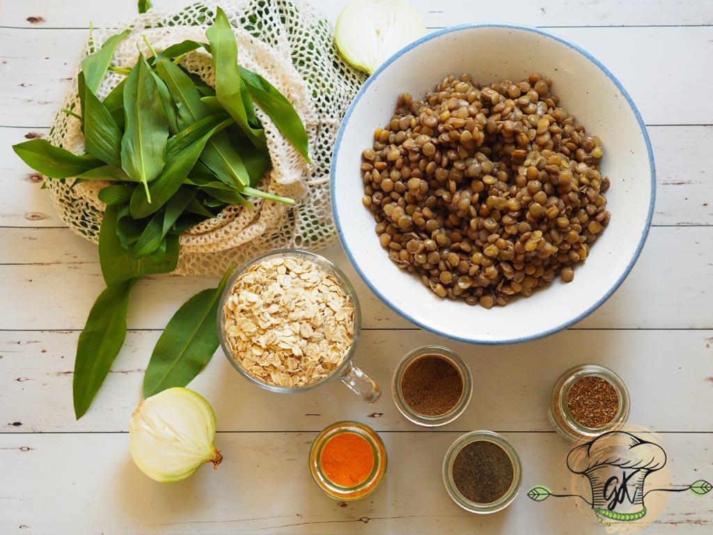 Gluténmentes vegán medvehagymás zabpelyhes lencsefasírt