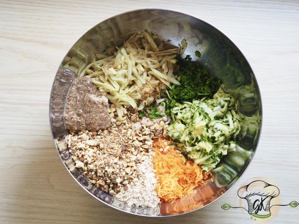 Gluténmentes vegán diós-gyömbéres zöldségfasírt