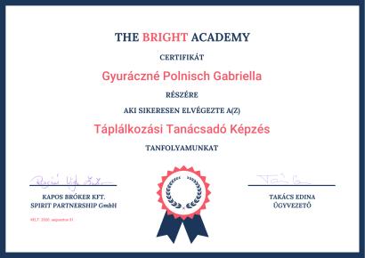 Gyuráczné-Polnisch Gabriella táplálkozási tanácsadó képzés certifikát